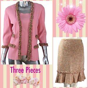 Dana Buchman Pink Knit Skirt Suit